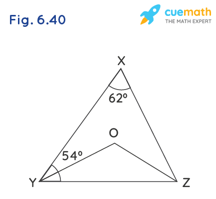 In Fig. 6.40, ∠X = 62°, ∠XYZ = 54°. If YO and ZO are the bisectors of ∠XYZ and ∠XZY respectively of ∠XYZ, find ∠OZY and ∠YOZ.