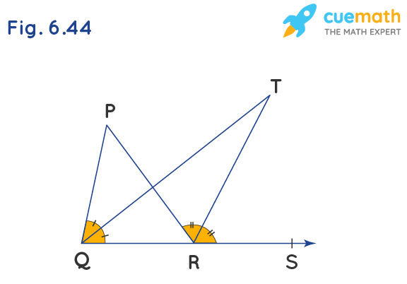In Fig. 6.44, the side QR of ∠PQR is produced to a point S. If the bisectors of ∠PQR and ∠PRS meet at point T, then prove that ∠QTR = 1/2 ∠QPR.