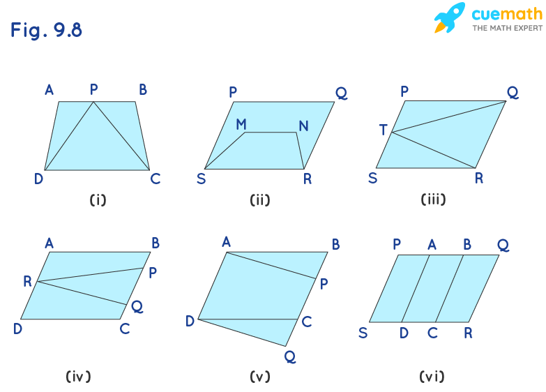 Which of the following figures lie on the same base and between the same parallels. In such a case, write the common base and the two parallels.