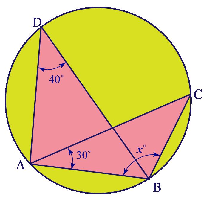 Calculating third angle in circle using circle theorems