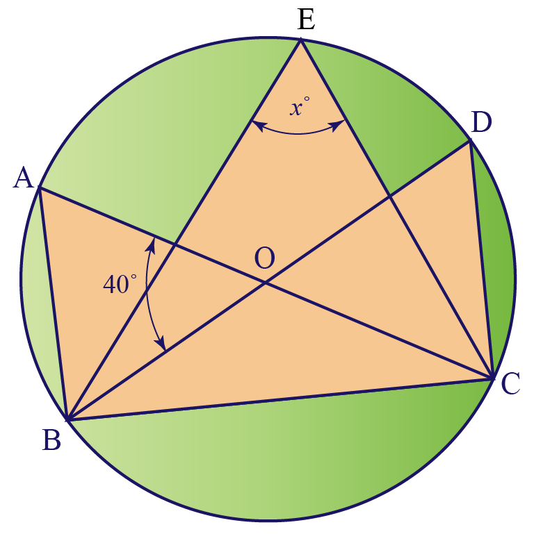 Calculating of triangle's angle in circle using circle theorems