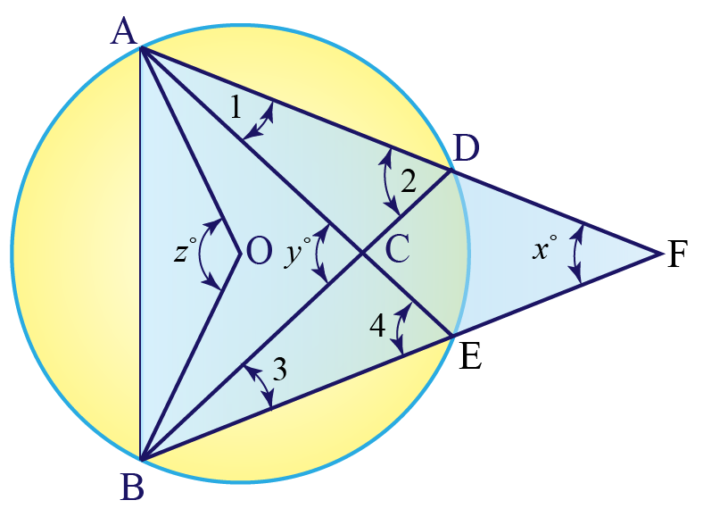 calculating angles of triangles in circle using theorem