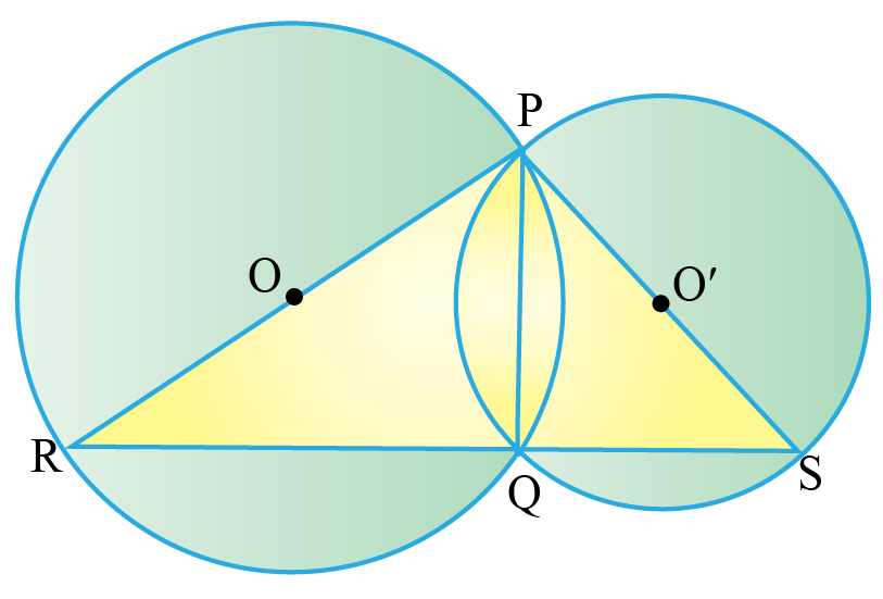 Two intersecting circles and two triangles