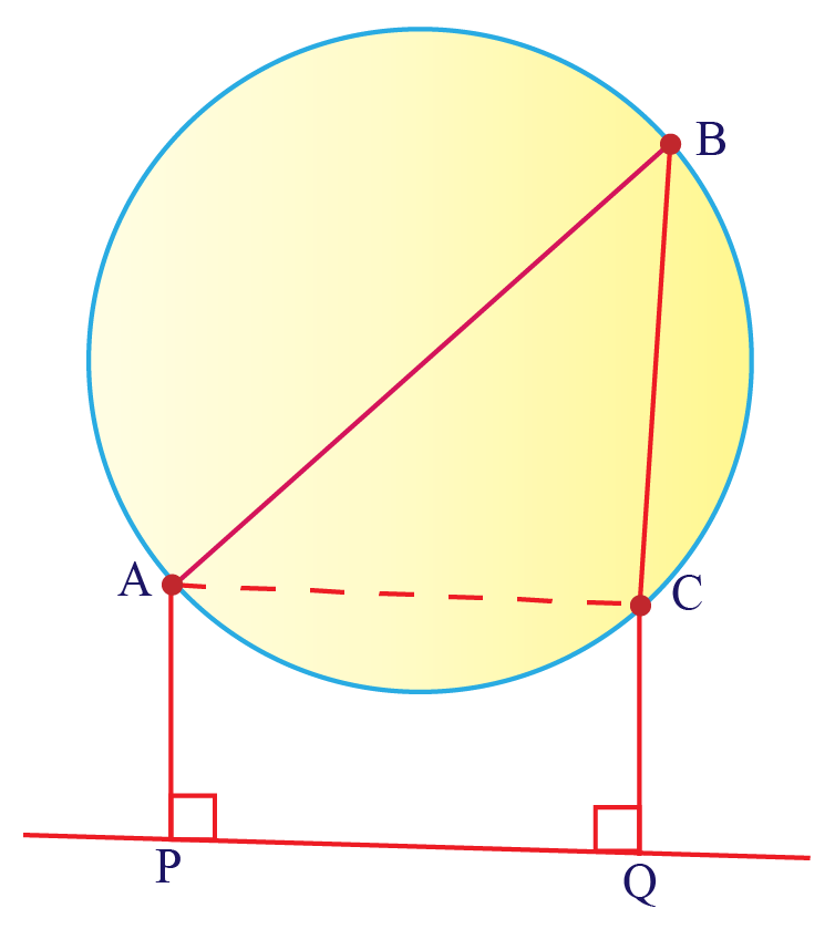 A circle with a triangle inside it. AB is the diameter. O is the centre. Perpendiculars AP and BQ are dropped on an external line.