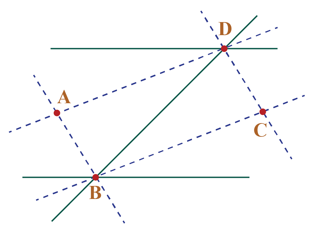 Two parallel lines intersected by a transversal.