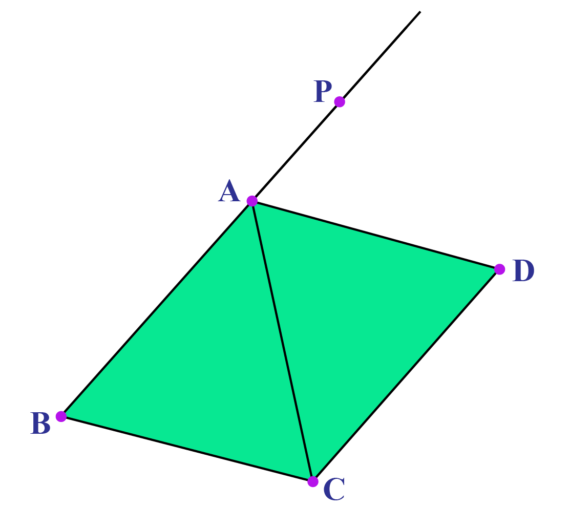 Quadrilateral with one side extended