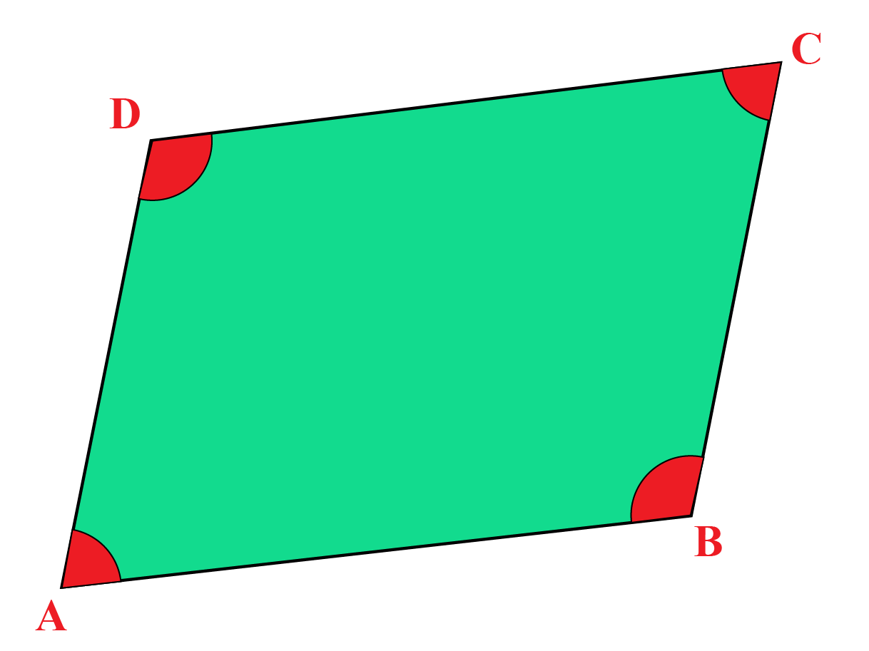 Parallelogram - If opposite angles in a quadrilateral are equal, it is a parallelogram.