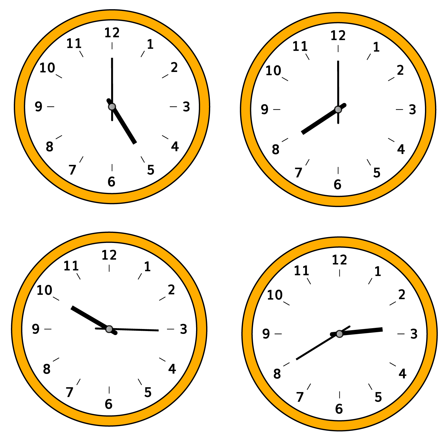 Obtuse Angles in Clock