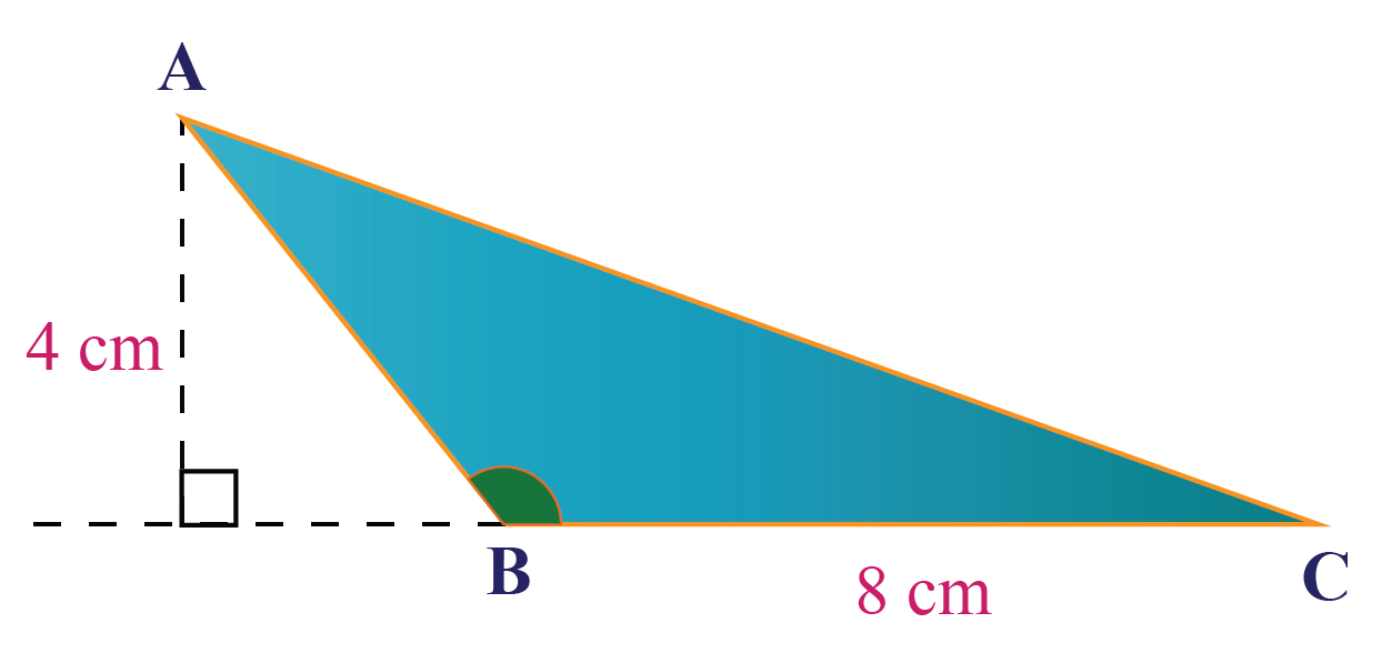 Area of an obtuse triangle of base 8 cm and height 4 cm.