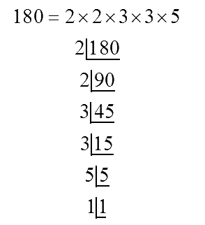 Prime factors of 180