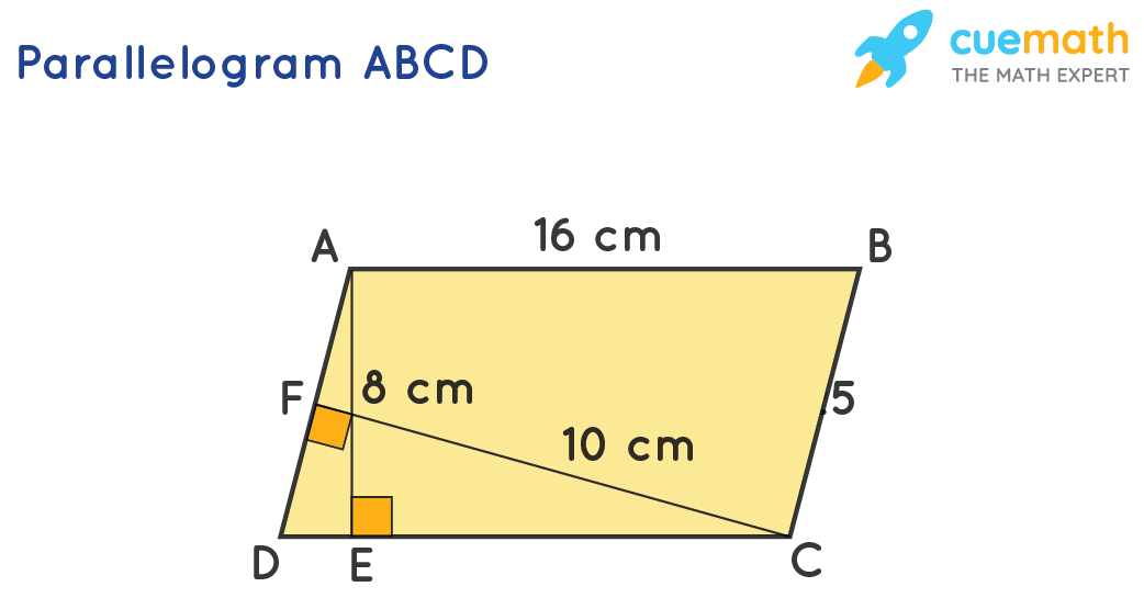 ParallelogramABCD with AB = 16cm, AE = 8cm and CF = 10cm