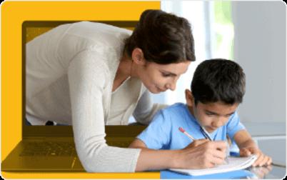 Cuemath teacher helping a child virtually