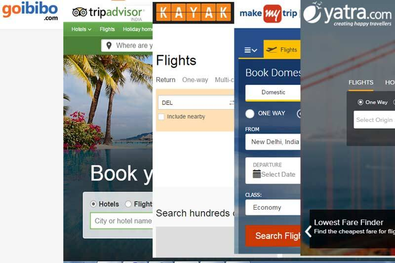 Different types of trip planning sites: goibobo, tripadvisor, kayak, makemytrip, yatra.com