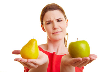 Analogy: Comparison of objects, pear and apple with woman