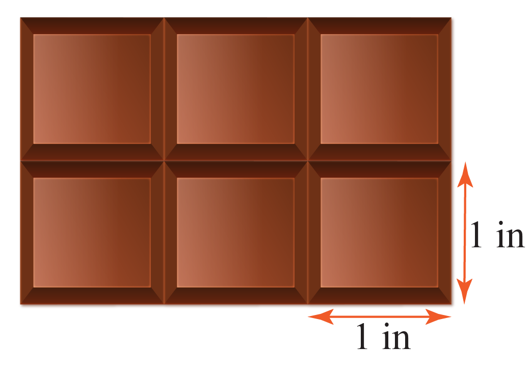 Rectangular Chocolate bar with dimensions 1 in