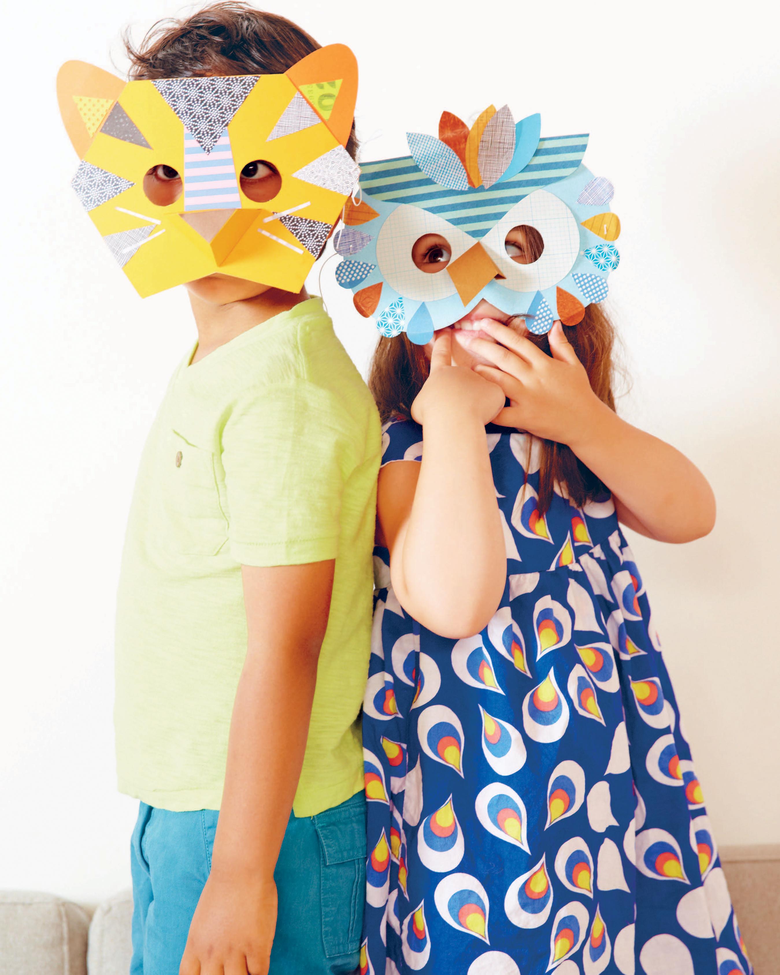 Children wearing homemade masks