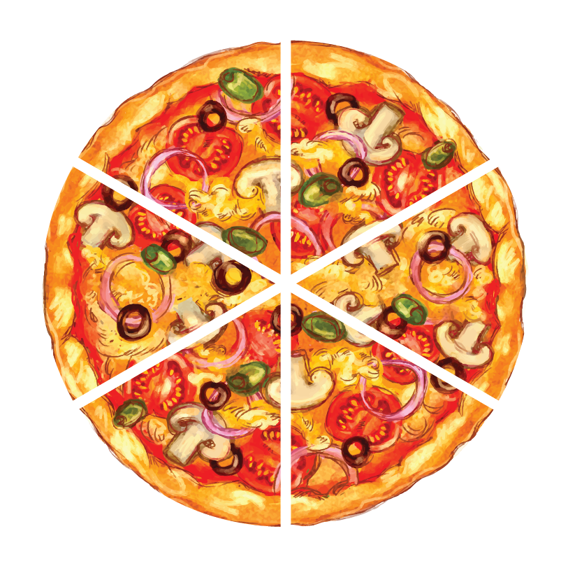 A circular pizza of diameter 14 cm