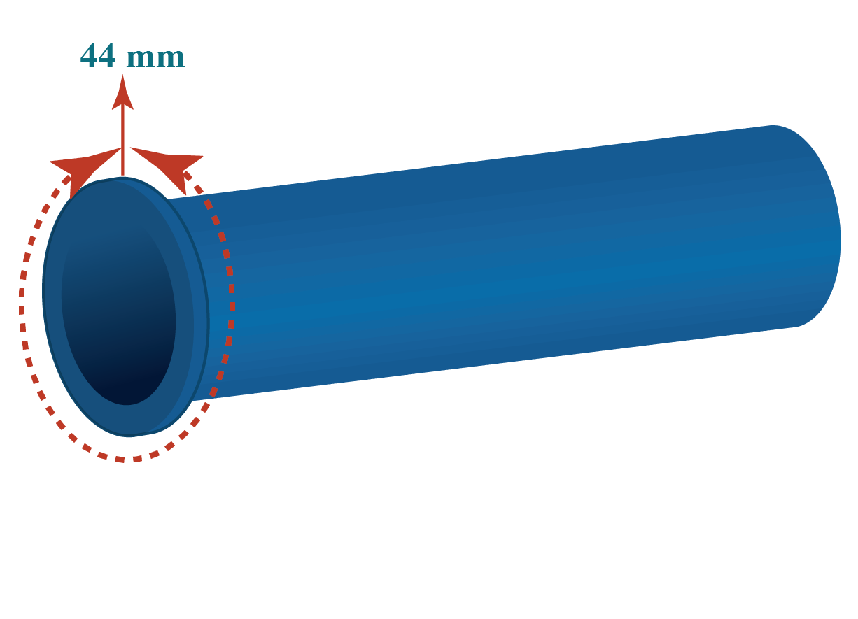 A circular pipe of circumference 44 cm , apply the circle formula with pi to  find the diameter