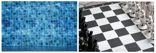 chessboard and square shape tiles