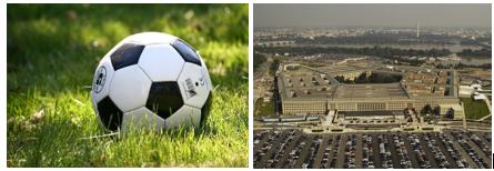 pentagon shapes seen on a football