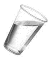 tumbler of water an elliptical surface