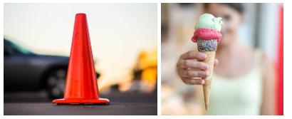 Traffic cone and Icecream cone