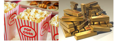 Pop corn and shiny gold bar which is mostly trapezoid shape