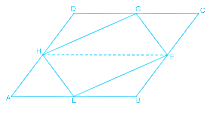 If E, F, G, and H are respectively the mid-points of the sides of a parallelogram ABCD, show that ar (EFGH) = 1/2 ar (ABCD).