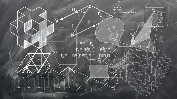 blackboard filled with mathematical equations and ideas