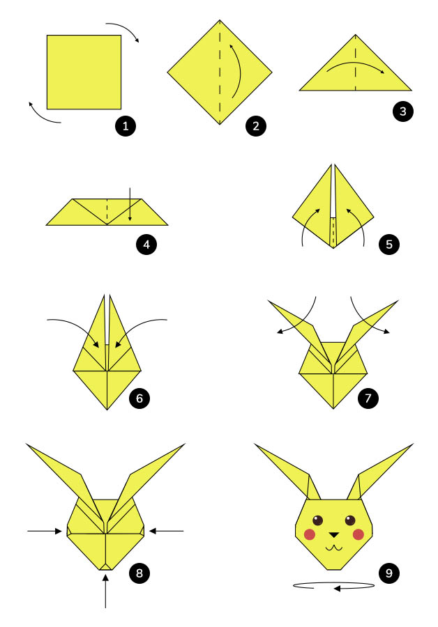 Steps to make a an Origami Pikachu