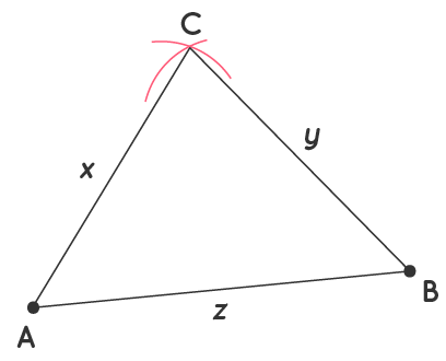 Point of intersection is third vertex