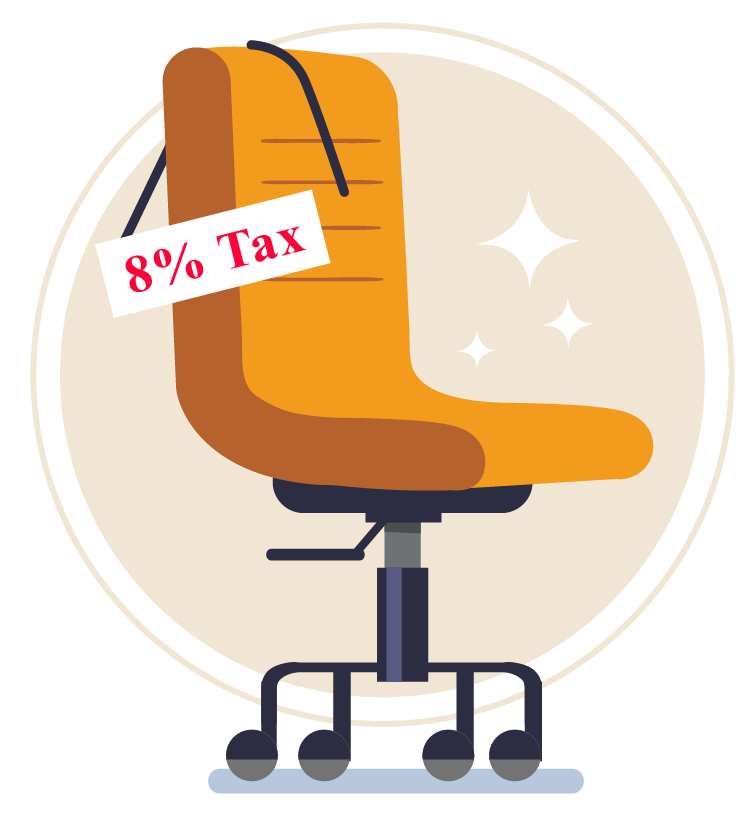 8% tax on a chair