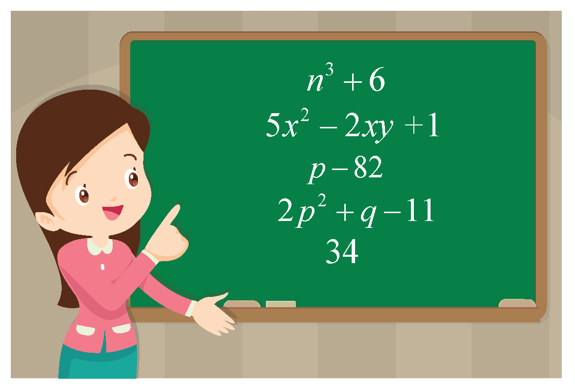 classify the given polynomials - polynomials are shown on a green board