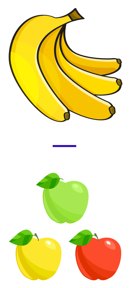 Subtract 3 apples from 4 bananas