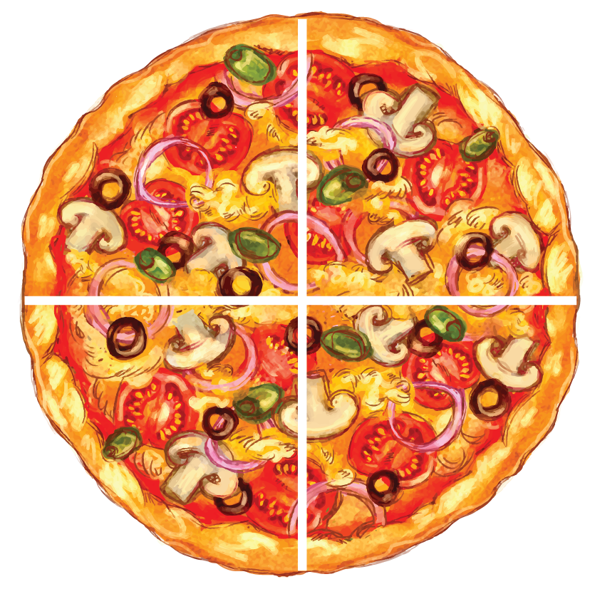 dividing a pizza into four equal parts