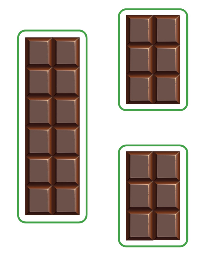 dividing a chocolate bar into two equally smaller pieces
