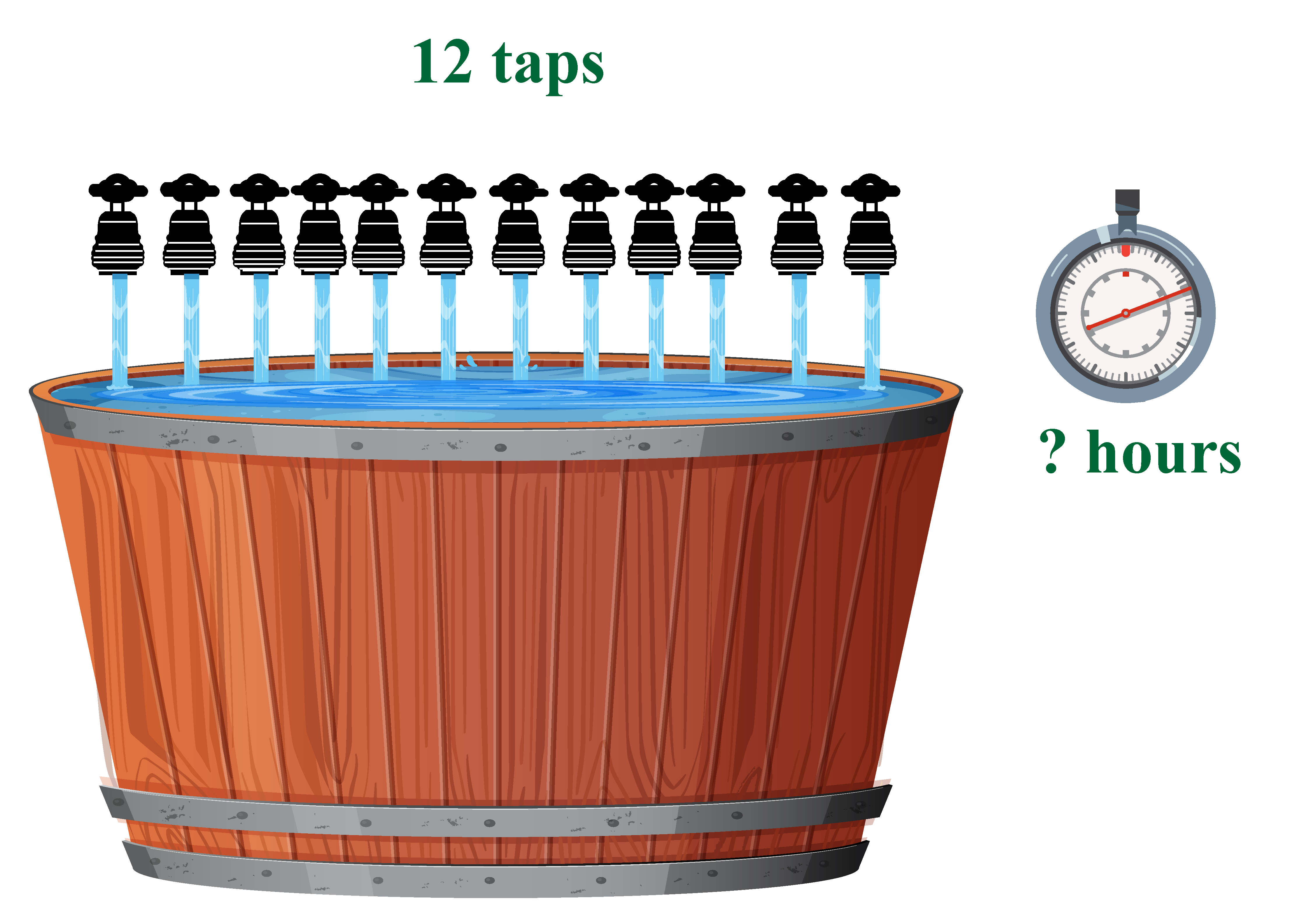 12 taps fill the same tank in how many hours?