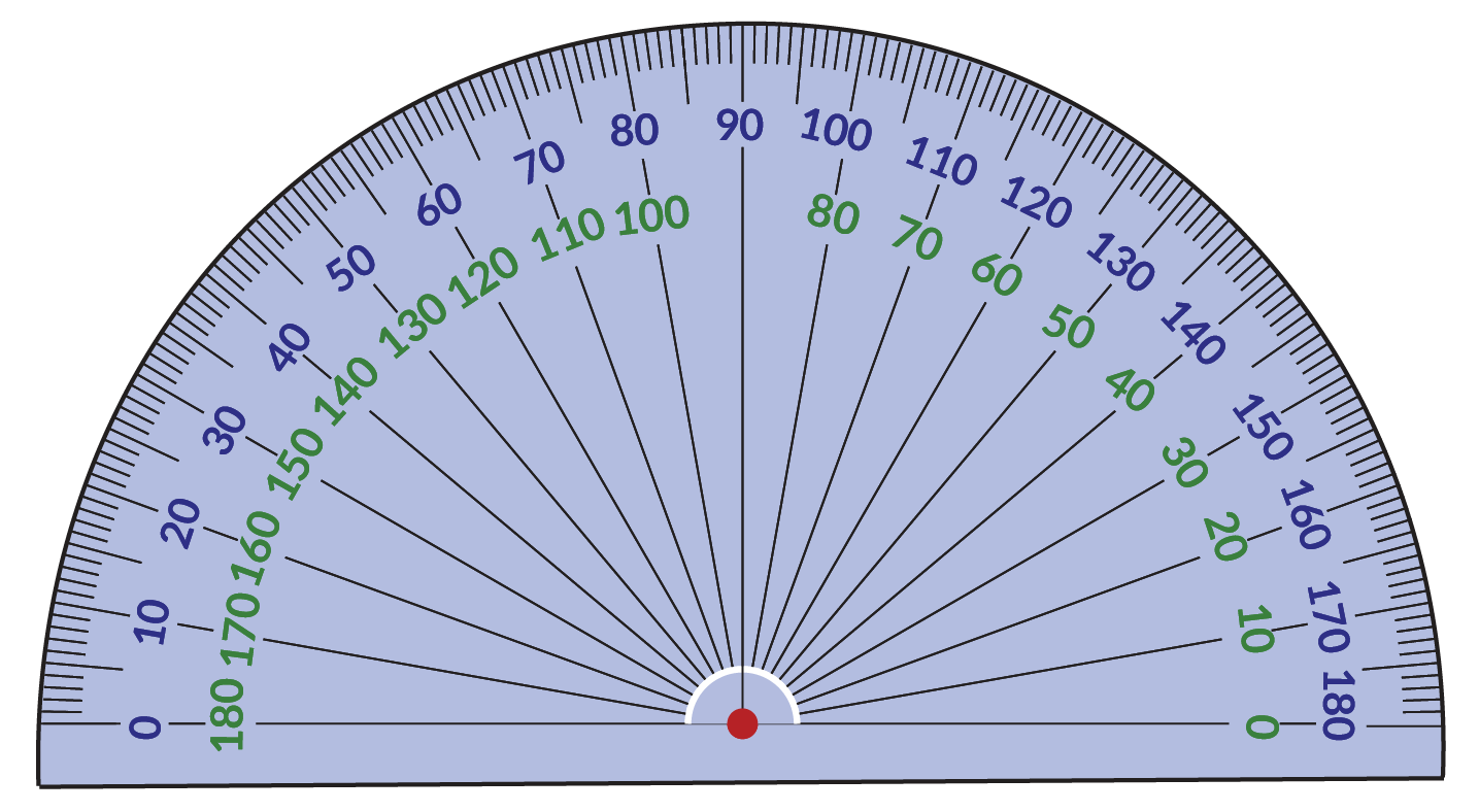 an example of a protractor which looks like a semi-circle