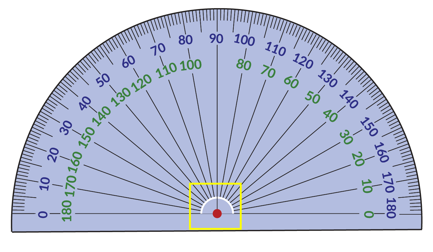 Center of the protractor