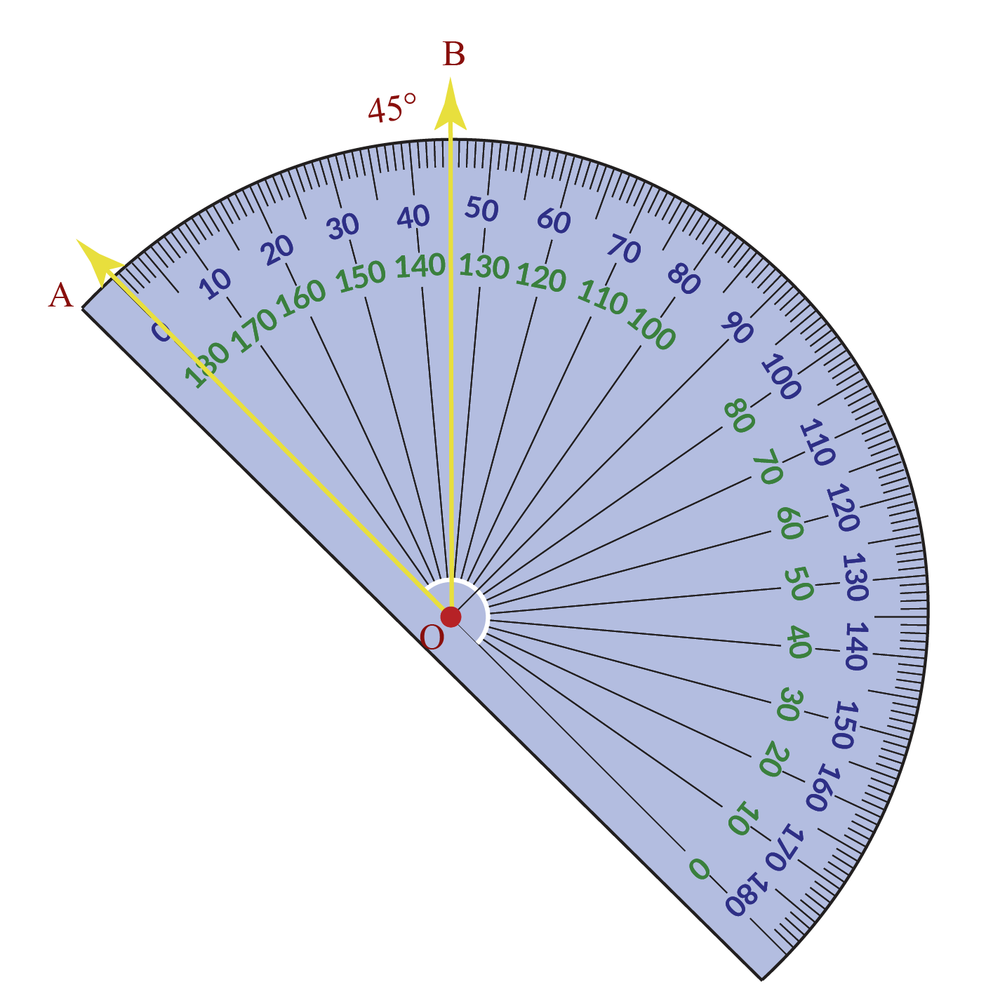 Measuring 45 degrees with the protractor