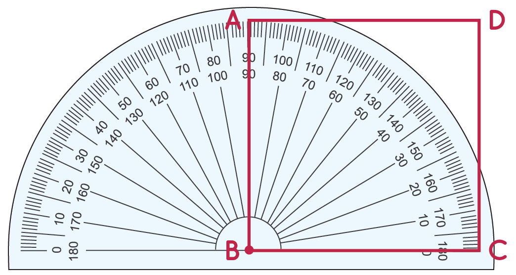 Angle B of the square example measures 90 degrees