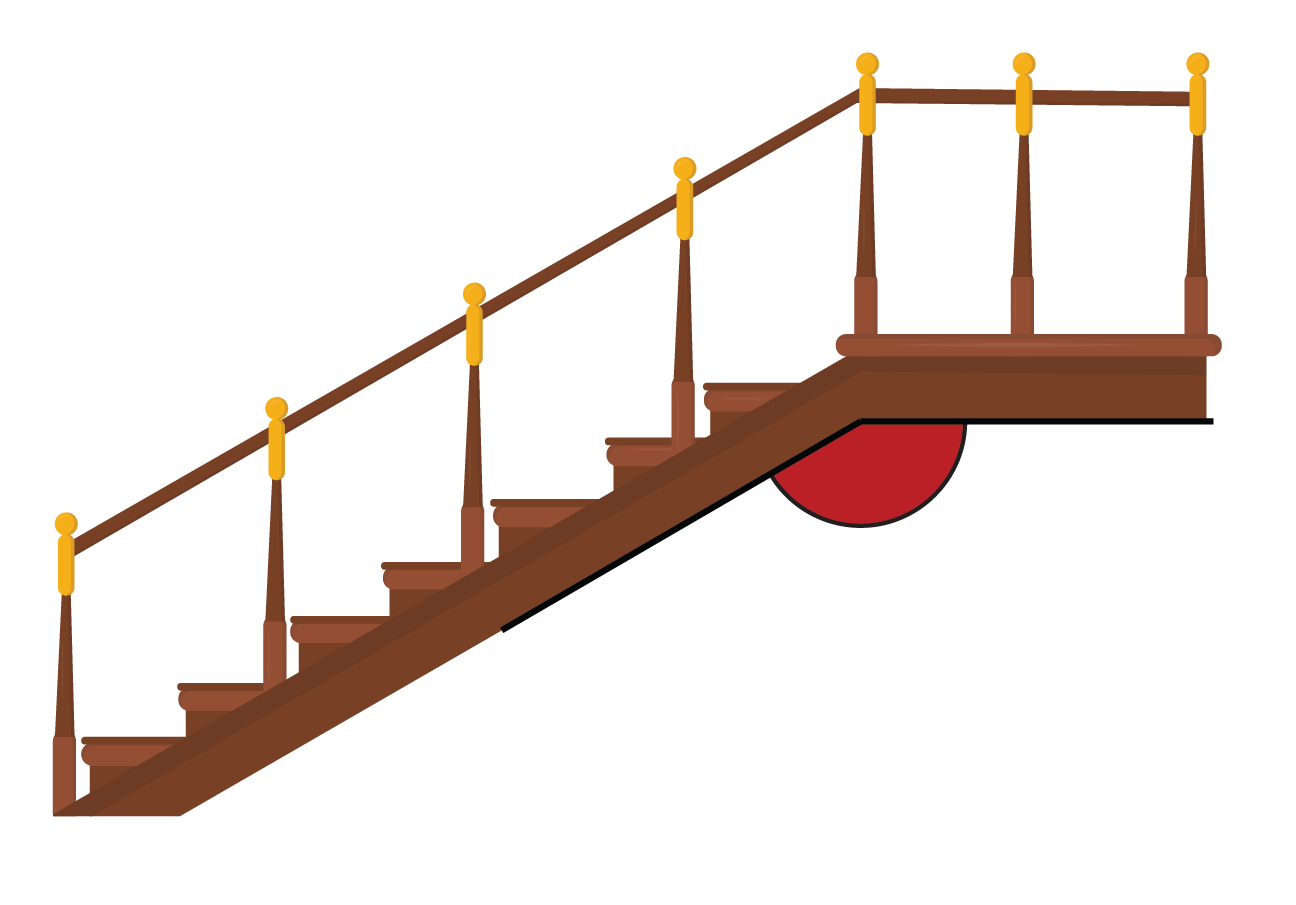 Angle formed beneath the staircase