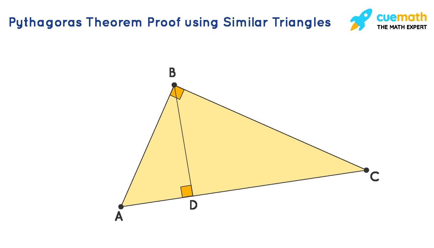 Pythagoras theorem proof using similar triangles