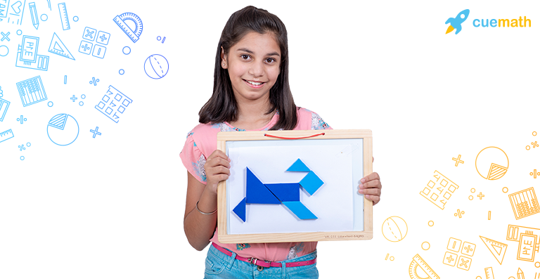 a girl with geometrical shapes placed on a board