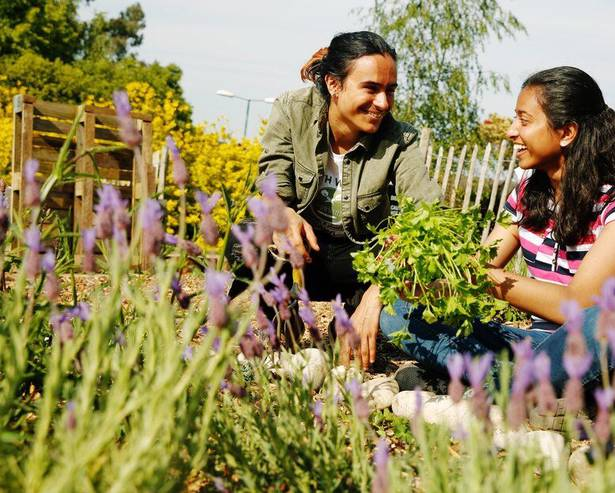 Mother-daughter gardening session