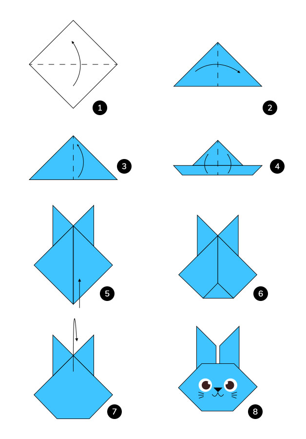 steps to make a rabbit using origami