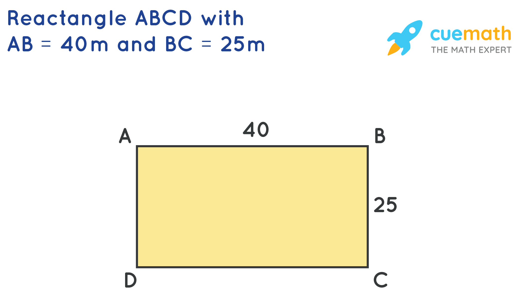 Rectangle ABCD with AB= 40mand BC = 25m