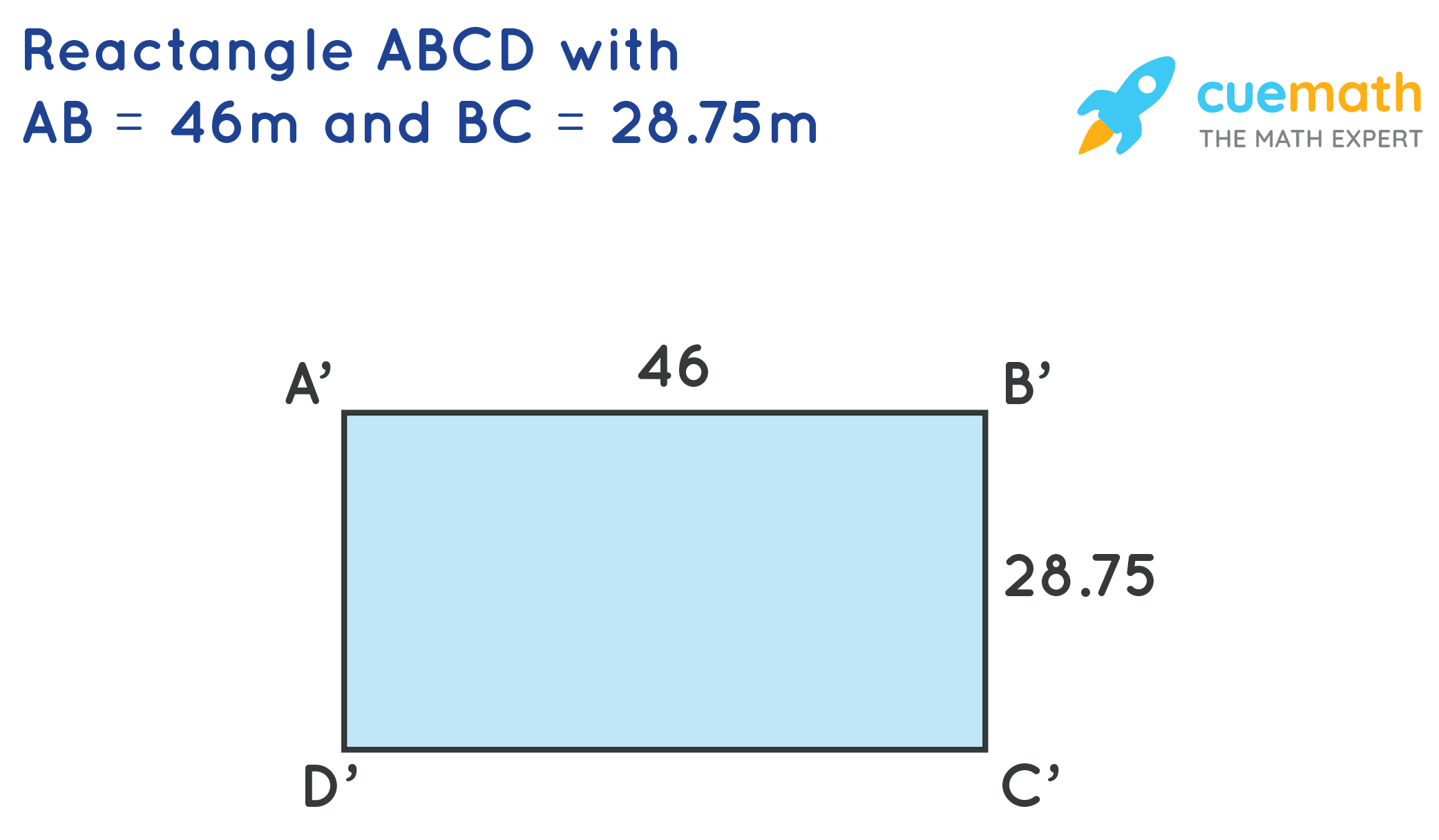 Rectangle ABCD with AB= 46mand BC = 28.75m