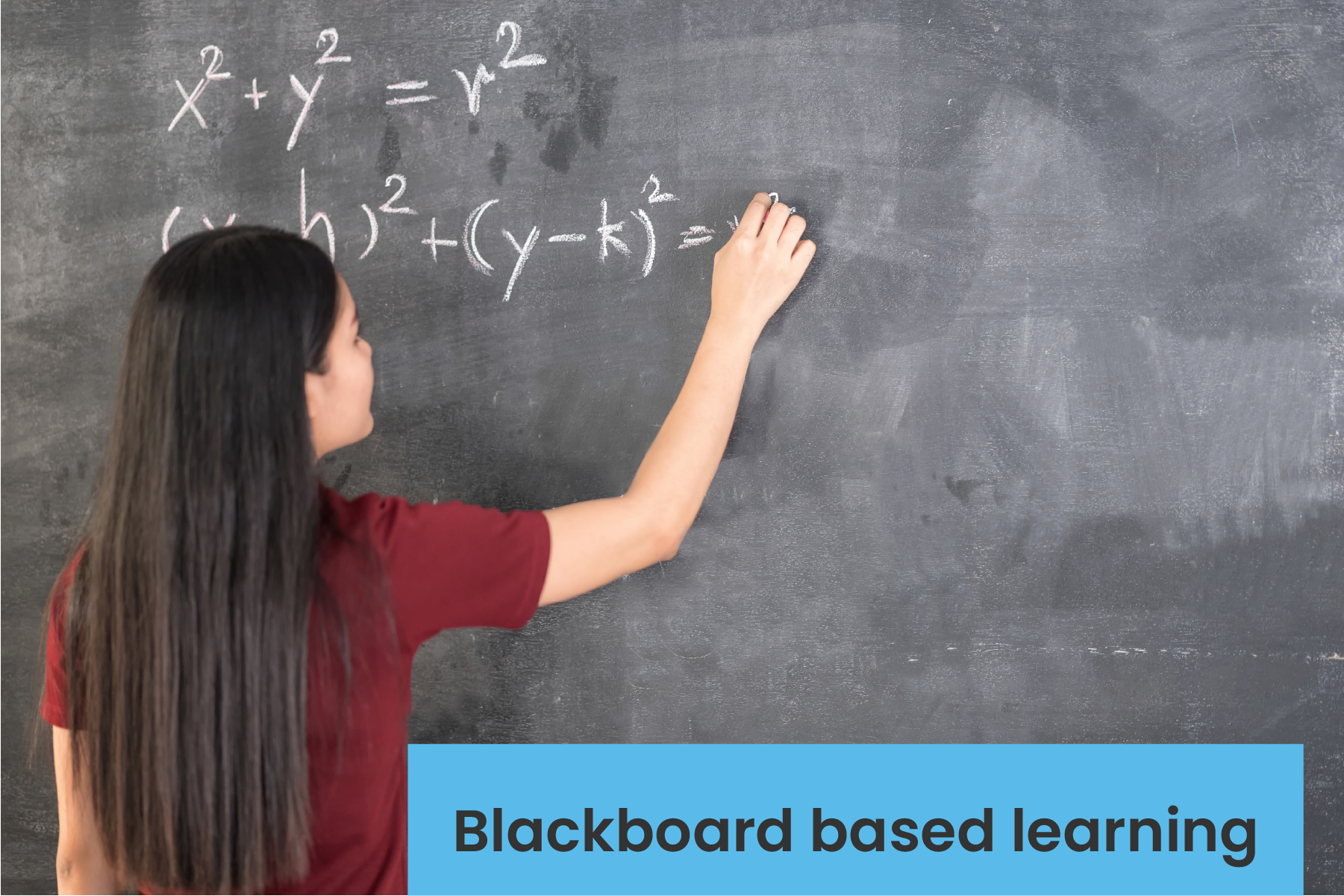 Student explaining math concepts in black board