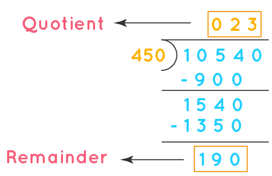 when 10540 divided by 450 the remainder is 190